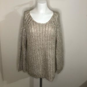 Anthropologie Knitted and Knotted Beige Sweater